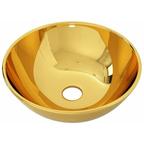 Wash Basin 28x10 cm Ceramic Gold