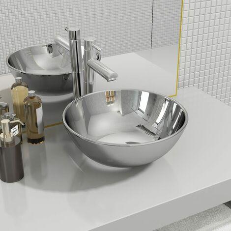 Wash Basin 28x10 cm Ceramic Silver - Silver