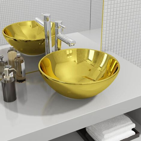 Wash Basin 32.5x14 cm Ceramic Gold