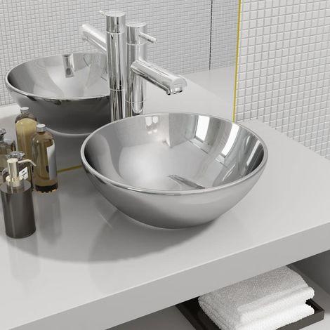 Wash Basin 32.5x14 cm Ceramic Silver