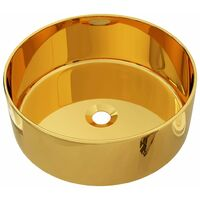 Wash Basin 40x15 cm Ceramic Gold