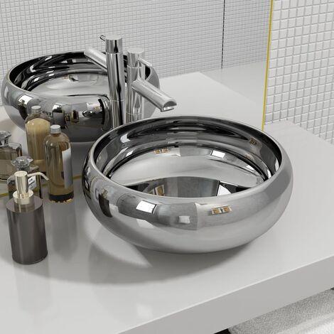 Wash Basin 40x15 cm Ceramic Silver