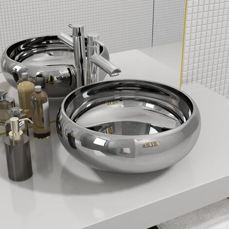Wash Basin 40x15 cm Ceramic Silver - Silver