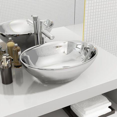 Wash Basin 40x33x13.5 cm Ceramic Silver - Silver