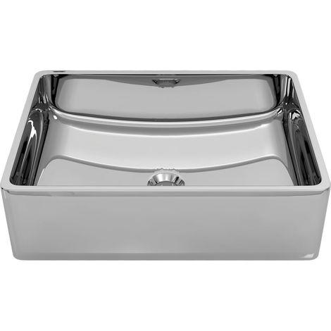 Wash Basin 41x30x12 cm Ceramic Silver