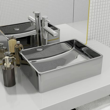 Wash Basin 41x30x12 cm Ceramic Silver - Silver