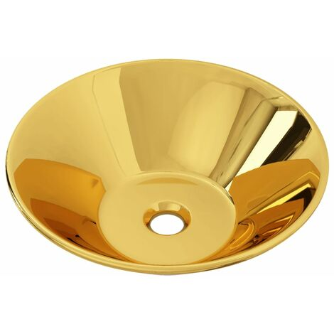 Wash Basin 42x14 cm Ceramic Gold