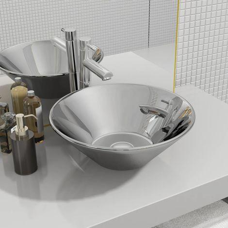 Wash Basin 42x14 cm Ceramic Silver