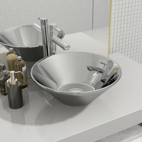 Wash Basin 42x14 cm Ceramic Silver - Silver