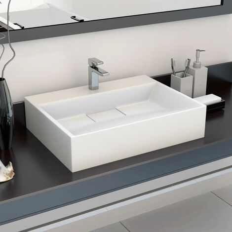 Wash Basin 50x38x13 cm Mineral Cast/Marble Cast White