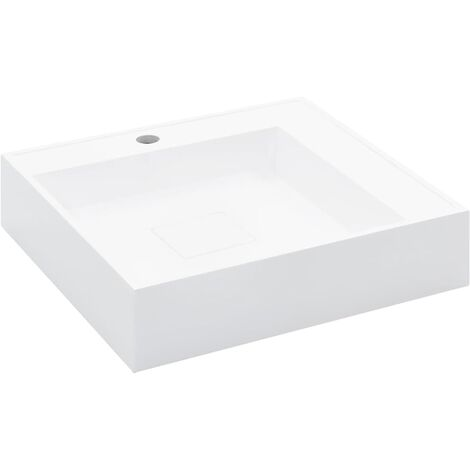 Wash Basin 50x50x12.3 cm Mineral Cast/Marble Cast White