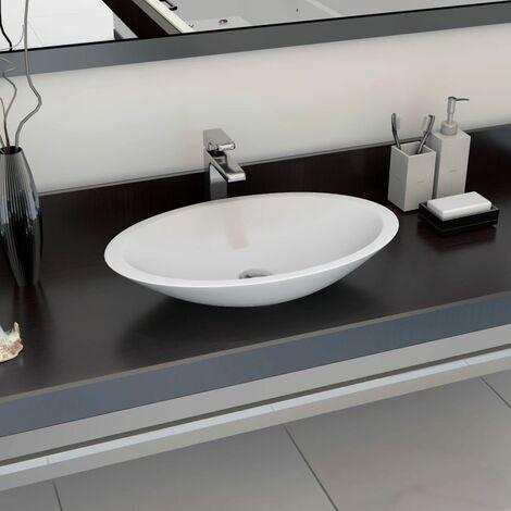 Wash Basin 59.3x35.1x10.7 cm Mineral Cast/Marble Cast White