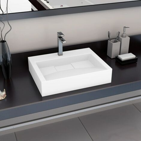Wash Basin 60x38x11 cm Mineral Cast/Marble Cast White