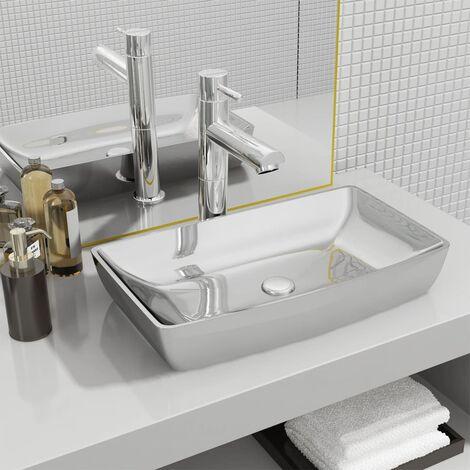 Wash Basin 71x38x13,5 cm Ceramic Silver - Silver