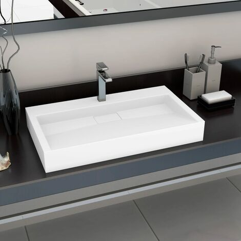 Wash Basin 80x46x11 cm Mineral Cast/Marble Cast White