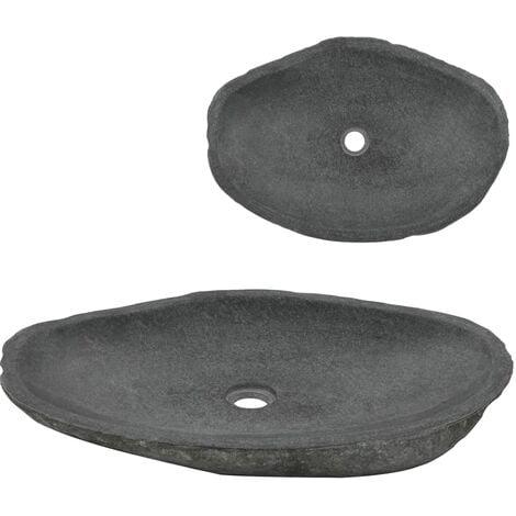 Wash Basin River Stone Oval 60-70 cm - Grey