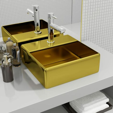 Wash Basin with Faucet Hole 38x30x11.5 cm Ceramic Gold