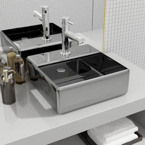 Wash Basin with Faucet Hole 38x30x11.5 cm Ceramic Silver