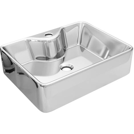 Wash Basin with Faucet Hole 48x37x13.5 cm Ceramic Silver