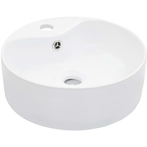 Wash Basin with Overflow 36x13 cm Ceramic White