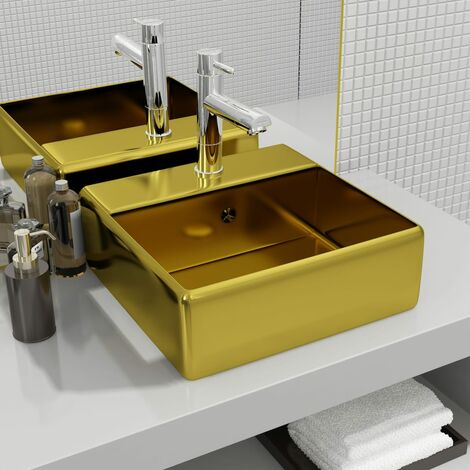 Wash Basin with Overflow 41x41x15 cm Ceramic Gold