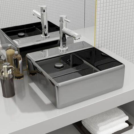 Wash Basin with Overflow 41x41x15 cm Ceramic Silver - Silver