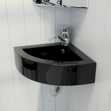 Wash Basin with Overflow 45x32x12.5 cm Black