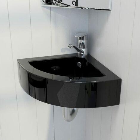 Wash Basin with Overflow 45x32x12.5 cm Black - Black
