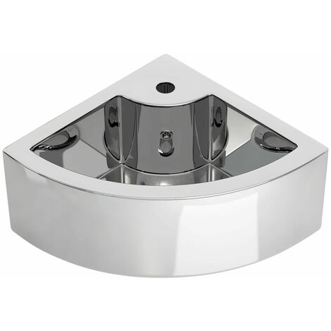 Wash Basin with Overflow 45x32x12.5 cm Ceramic Silver