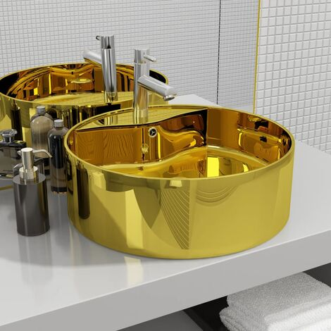 Wash Basin with Overflow 46.5x15.5 cm Ceramic Gold - Gold