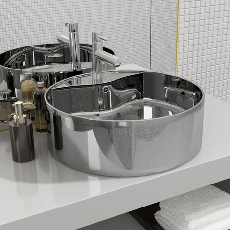 Wash Basin with Overflow 46.5x15.5 cm Ceramic Silver