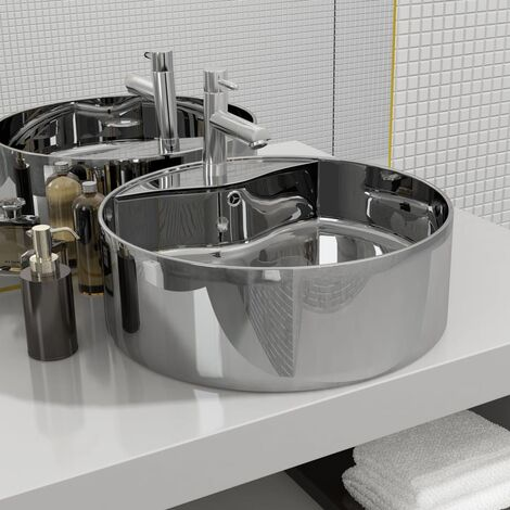 Wash Basin with Overflow 46.5x15.5 cm Ceramic Silver - Silver
