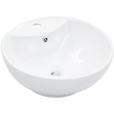 Wash Basin with Overflow 46.5x18 cm Ceramic White