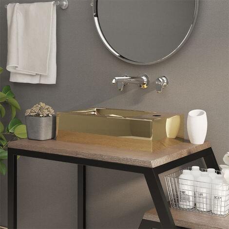 Wash Basin with Overflow 49x25x15 cm Ceramic Gold
