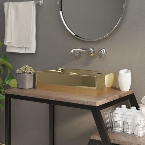 """main image of """"Wash Basin with Overflow 49x25x15 cm Ceramic Gold - Gold"""""""