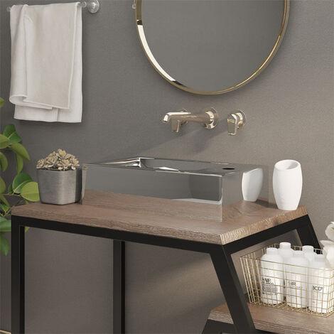 Wash Basin with Overflow 49x25x15 cm Ceramic Silver