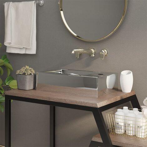 Wash Basin with Overflow 49x25x15 cm Ceramic Silver - Silver