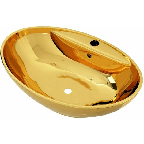 Wash Basin with Overflow 58.5x39x21 cm Ceramic Gold