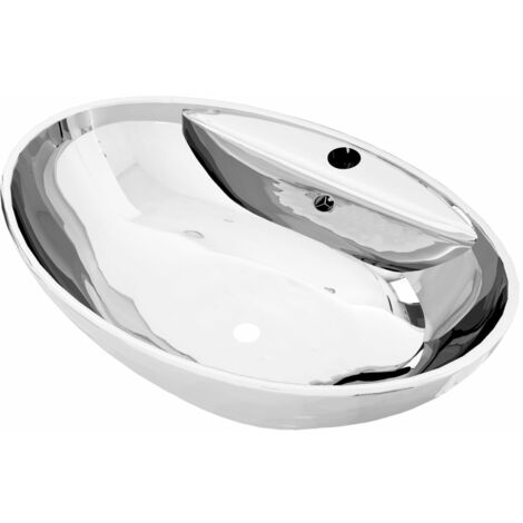 Wash Basin with Overflow 58.5x39x21 cm Ceramic Silver