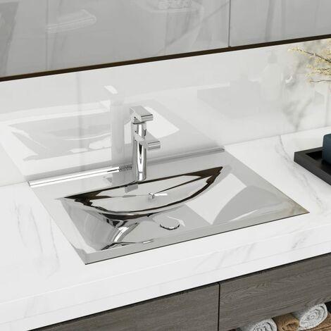 Wash Basin with Overflow 60x46x16 cm Ceramic Silver - Silver
