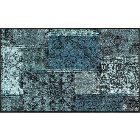 Wash + Dry Vintage Patches türkis Tapis, Surface en Polyamide, Vert, 75 x 120 cm