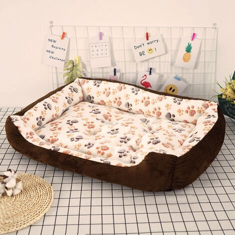 Washable Pet Puppy Cat Dog Bed Cushion Kennel Basket Mat Mattress Beige 45 x 30 x 12 cm