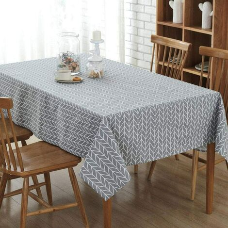 Washable rectangular tablecloth Easy care, Water-repellent effect, Waterproof, Stain-resistant, Synthetic fibers, gray, 140 x 180 cm