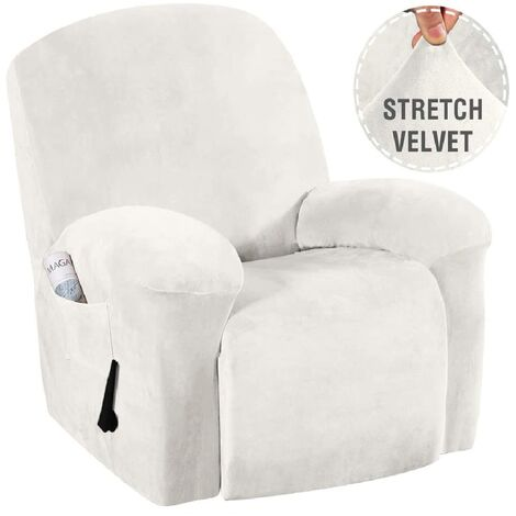 Washable Stretch Recliner Chair Covers Velvet Plush Fabric Couch Cover white