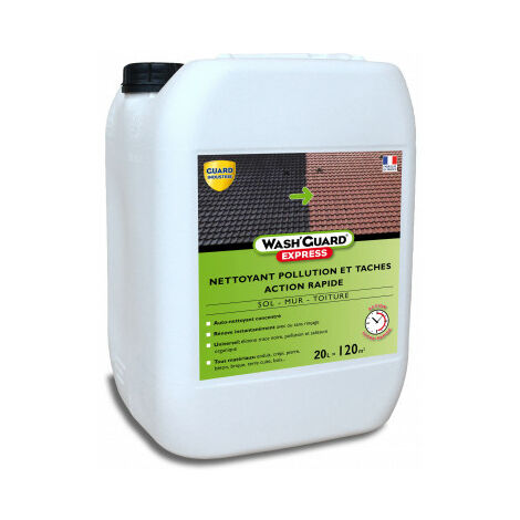 Wash'Guard Express - Nettoyant extérieur désinfectant désincrustant ultra rapide sans rinçage - 20L - jusqu'à 120m² - 4x5L