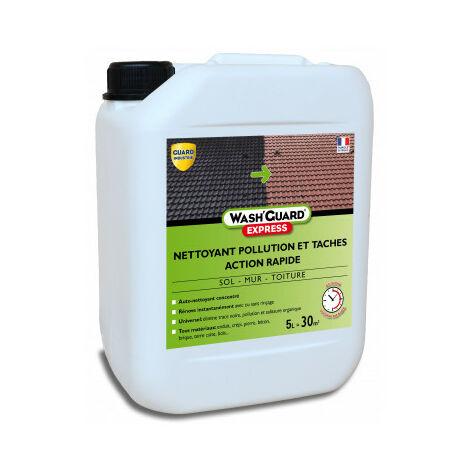 WashGuard Express - Nettoyant extérieur désinfectant désincrustant version ultra rapide sans rinçage - 5 L - jusqu'à 30 m²