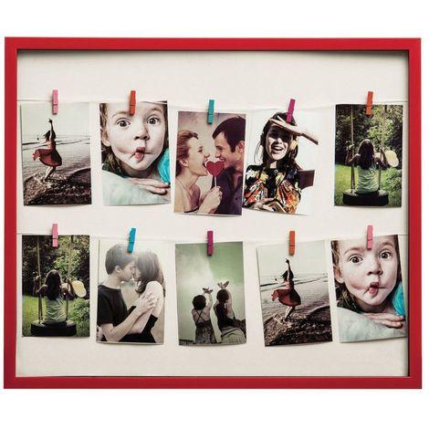 Washing line photo frame,10 peg, deep red plastic frame