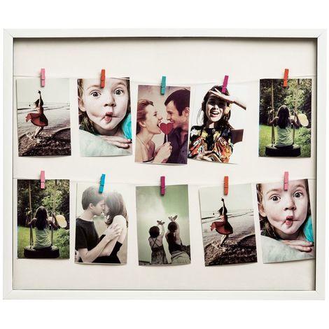 Washing line photo frame,10 peg, white plastic frame