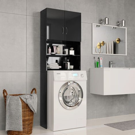 Washing Machine Cabinet High Gloss Black 64x25.5x190 cm Chipboard