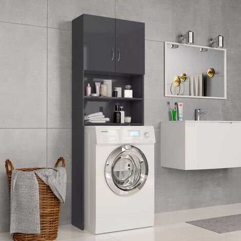 Washing Machine Cabinet High Gloss Grey 64x25.5x190 cm Chipboard